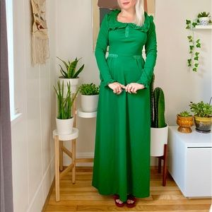Vintage 70s forest green Victorian maxi dress XS-S